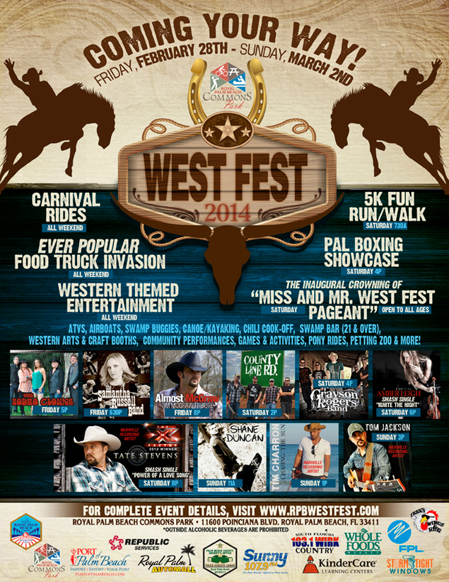 West Fest, Royal Palm Beach, Tom Jackson, Samantha Russell Band, Amber Leigh, County Line Road, Grayson Rogers Band