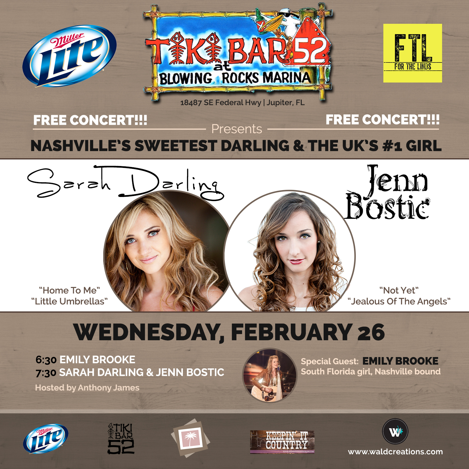 Sarah Darling, Emily Brooke, Jess Bostic, Tiki 52, show, concert, free, live music, country music