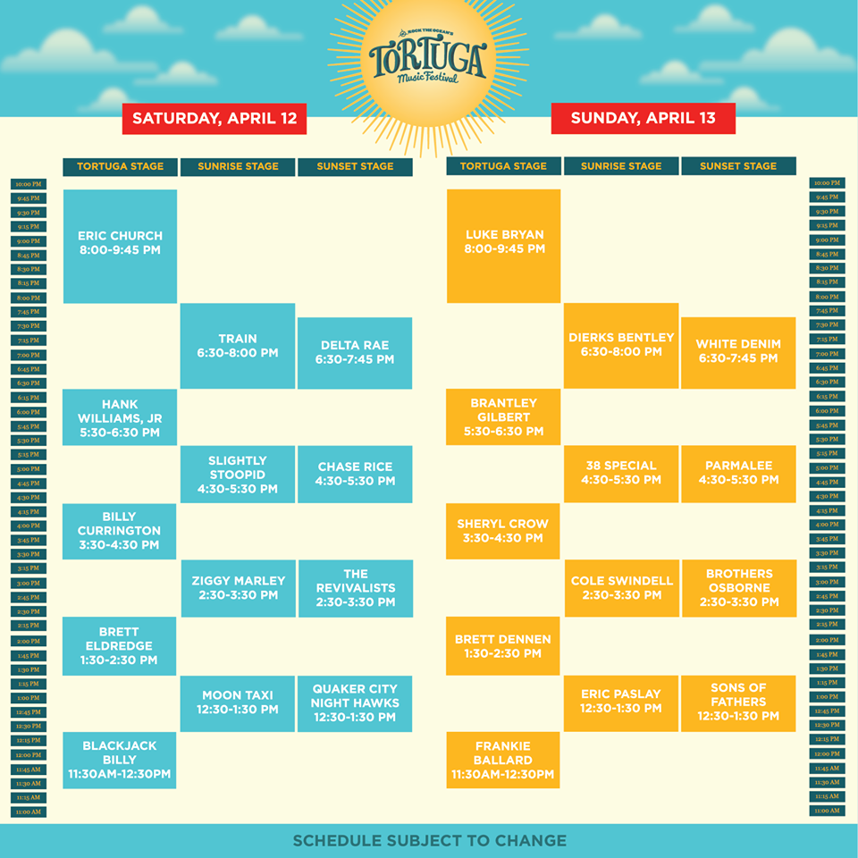 Tortuga Music Fetsival Schedule