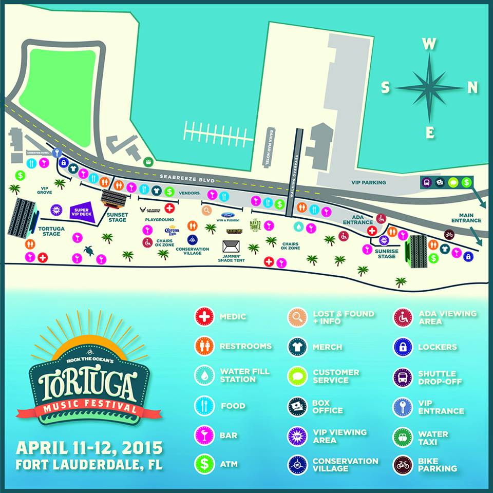 Here is the map showing the layout of this weekend s tortuga music